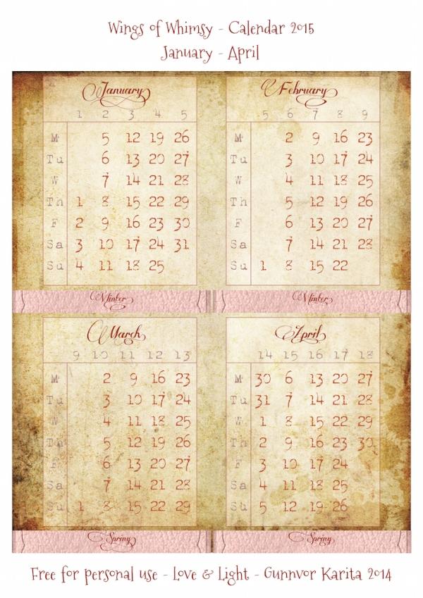 Wings of Whimsy: Calendar 2015 January - April #vintage #victorian #ephemera #freebie #printable #calendar
